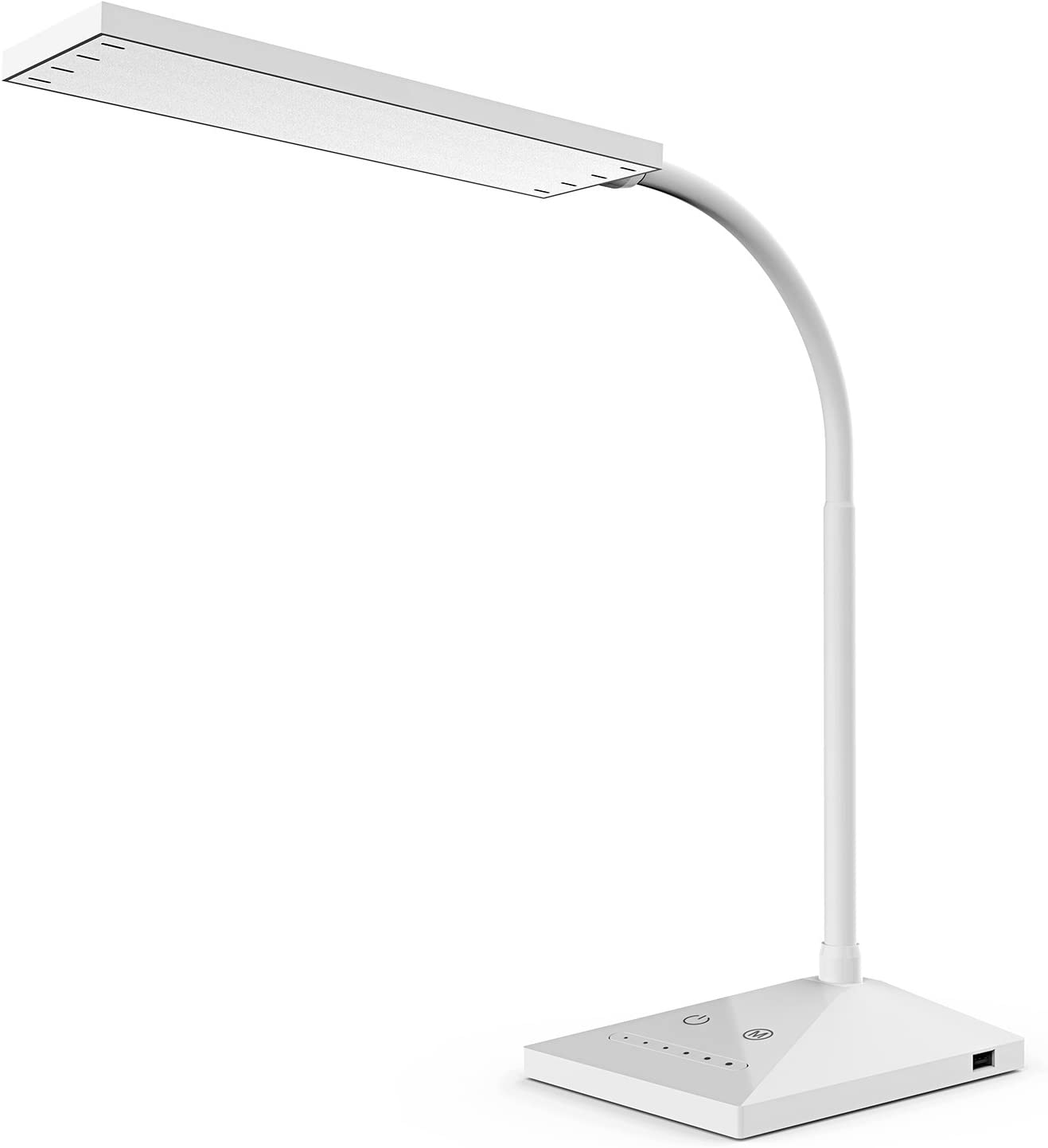 VICFUN LED Desk Lamp, 5 Color Modes with 7 Levels of Brightness, Eye-Caring Table Lamp Office Lamp with USB Charging Port, Touch Control Sensitive Dimmable 12W White