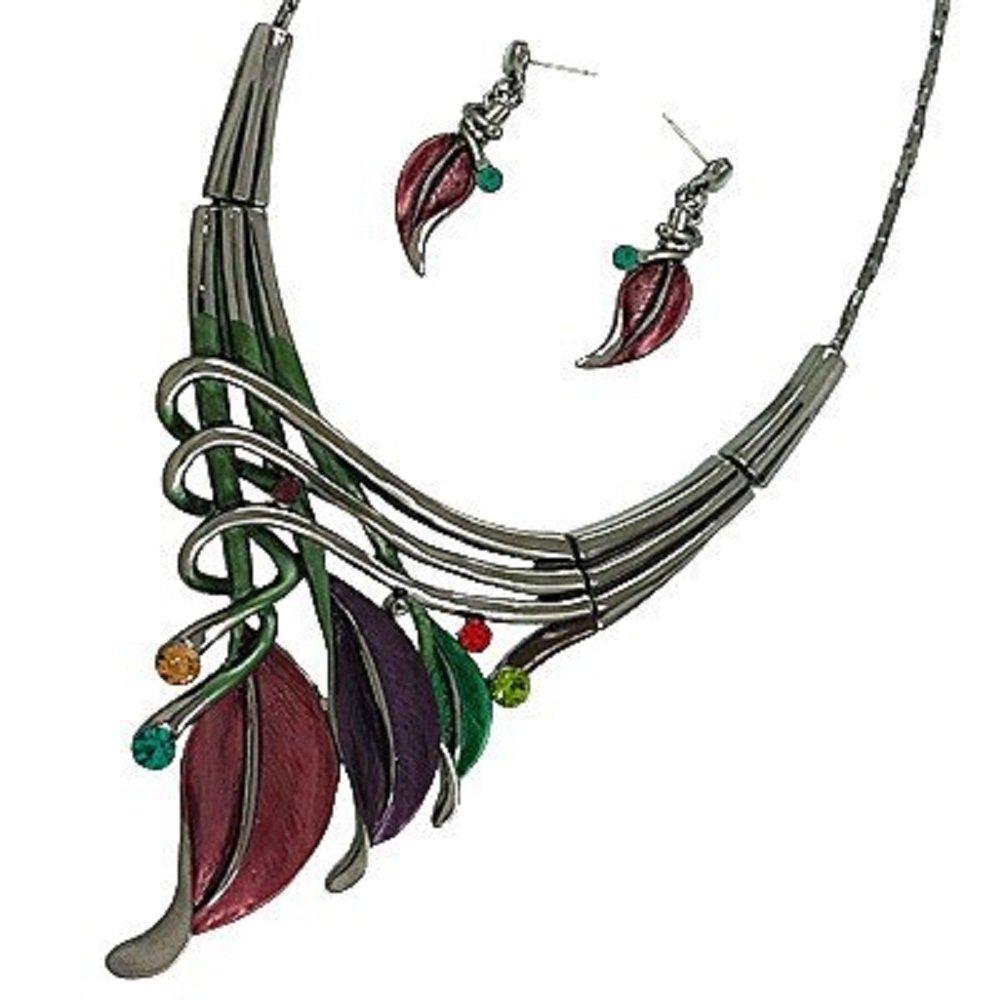 Gunmetal Dark Multi Color Leaf Statement Necklace and Earring Set /16'' + 2'' Extension