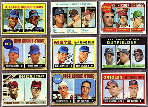 Ultimate 1960's and 1970's Topps Baseball Rookie Reprint (9) Card Lot #11 featuring**Ferguson Jenkins, Rod Carew, Tom Seaver, Mark Belanger, Johnny Bench, Nolan Ryan, Rollie Fingers, Dusty Baker, Mike Schmidt** ()