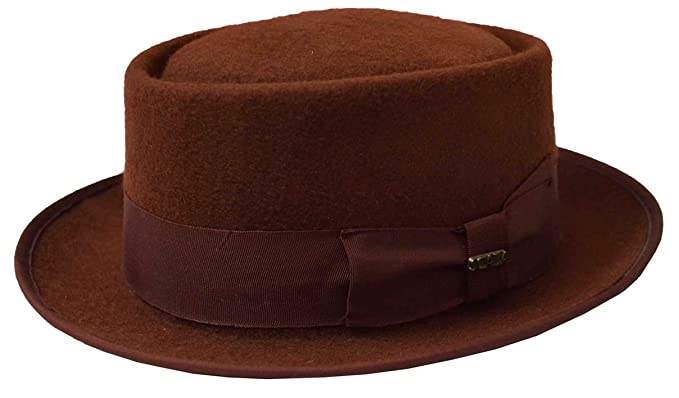 778473a3 Scala Men's Pork Pie Wool Felt Fedora Rust at Amazon Men's Clothing ...