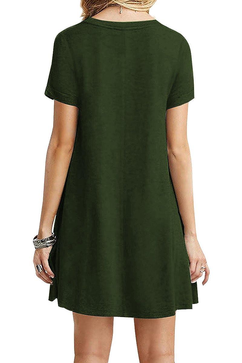 YMING Damen Casual Looses Kleid Kurzarm Große Größe Tunika Mini Sommerkleid Langes  Shirt,Armee Grün,XXXXL DE 48  Amazon.de  Bekleidung a7ba0ec1d9