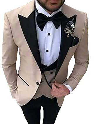 ec0ce5b88d82f Aesido Casual Men's Suits Slim Fit 3 Piece Notch Lapel Prom Tuxedos  Groomsmen for Wedding (