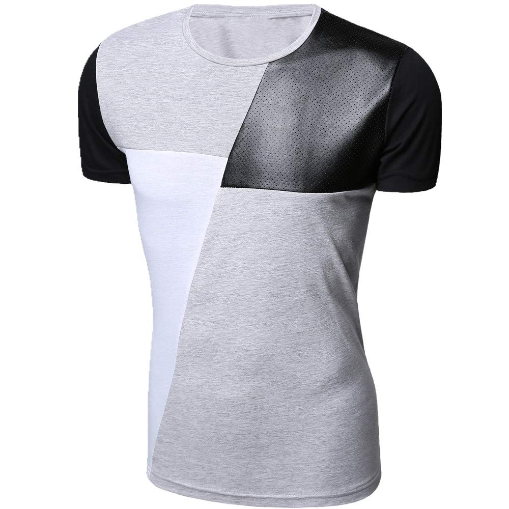 LXSKU M-XXL PU Leather T Shirt Men Short Sleeve T-Shirt Fashion Casual O-Neck Hip hop Gray