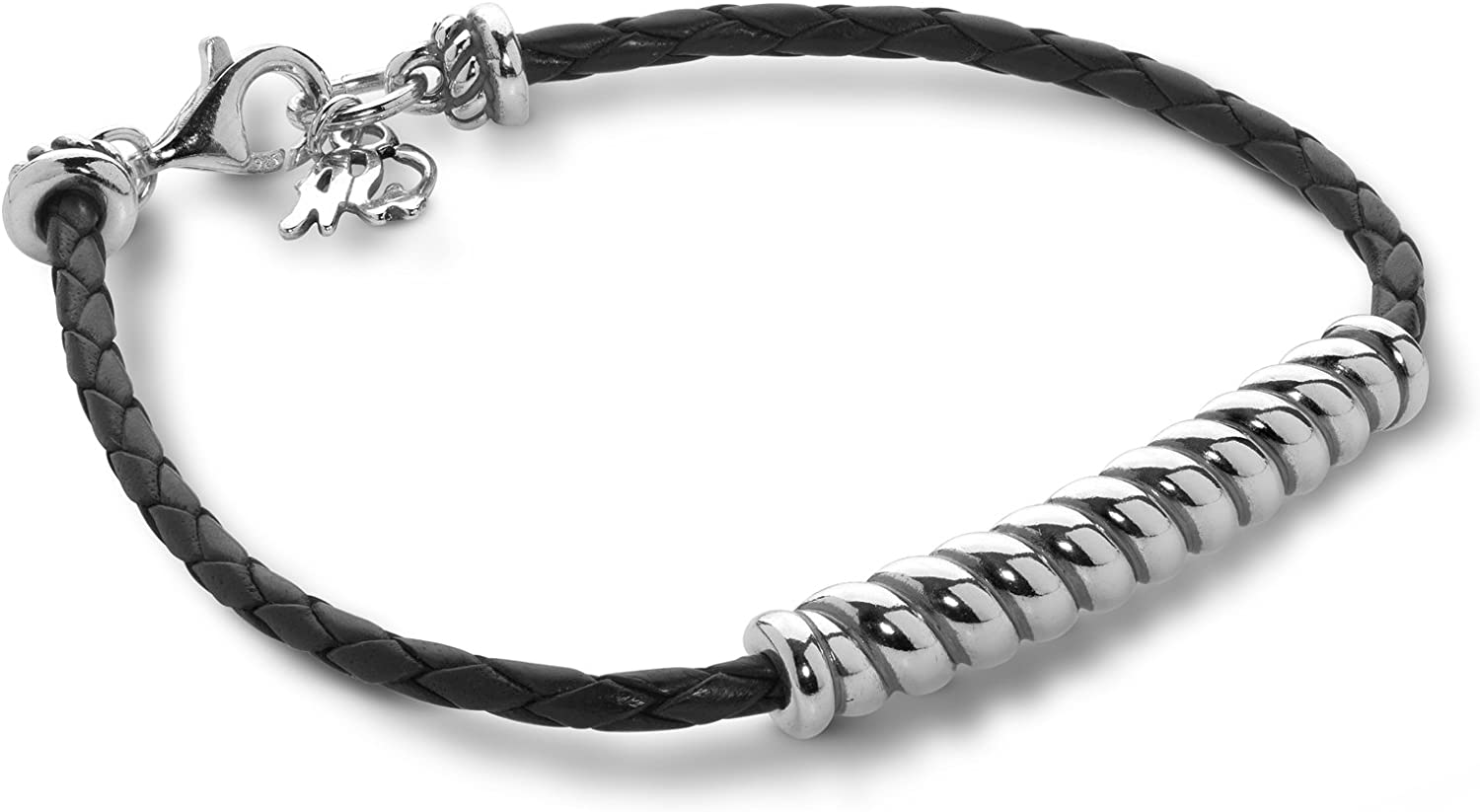 American West Sterling Silver Turquoise, Natural and Black Braided Leather Rope Bar Bracelet Sizes S, M or L