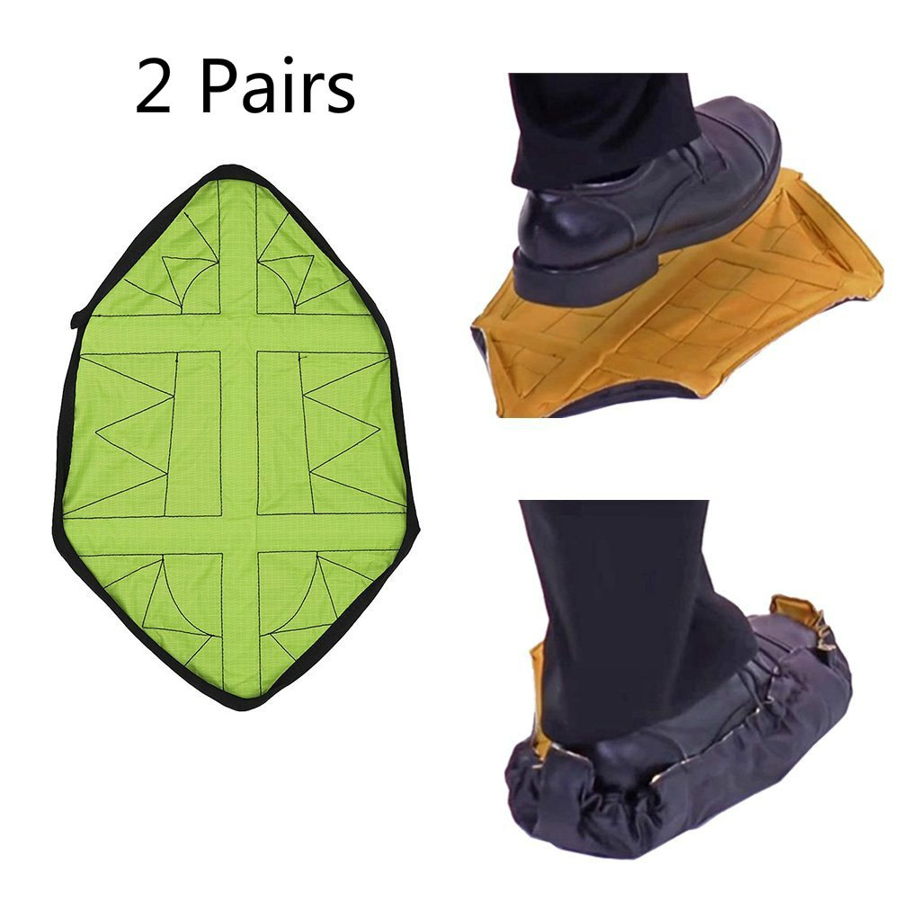 Hands-Free Portable Shoe Cover ,Reusable One Step Shoe Covers for Sneakers, Trainers & Boots, Perfect for Home Workers by WOOCE (2 Pairs (Green))