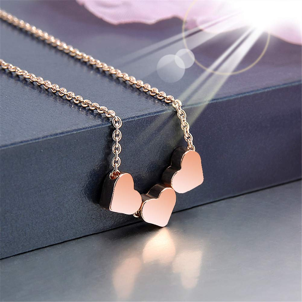 Aineecy Simple Love Heart Necklace Small Peach Heart to Heart Necklace Clavicle Chain Cross for Women Girls