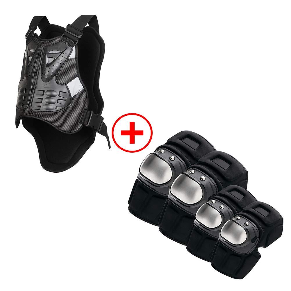 TZTED Anti-Fall-Getriebe Motorradrüstung Schutzausruestung Knie Ellbogen Handgelenk Schutz der Wirbelsäule Protektorplatten für Skateboard