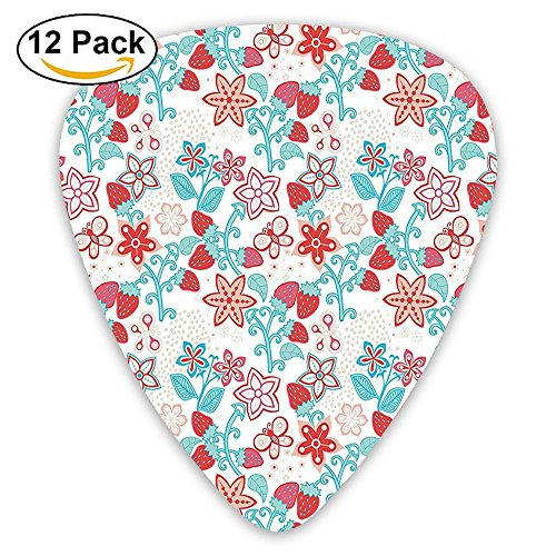 Newfood Ss Cute Flowers Ladybugs Butterflies Strawberries Kids Nursery Playroom Pattern Guitar Picks 12/Pack -