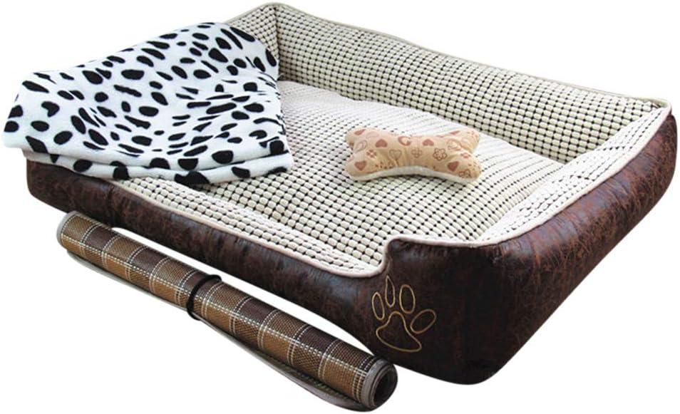 GUOCU Cuccia per Animali Lavabile con Cuscino Impermeabile Corticale Durevole Cuccia per Cane Sof/à Quattro Stagioni Disponibili Marrone Set XL
