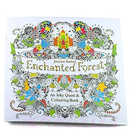 Upupo New An Inky Enchanted Forest Treasure Hunt Coloring BookColoring Books Adults Kids Relaxation