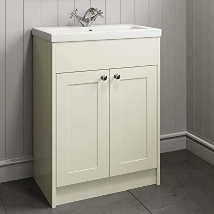 Traditional 800mm Bathroom Vanity Unit Basin Sink 2 Door Storage Cabinet Ivory