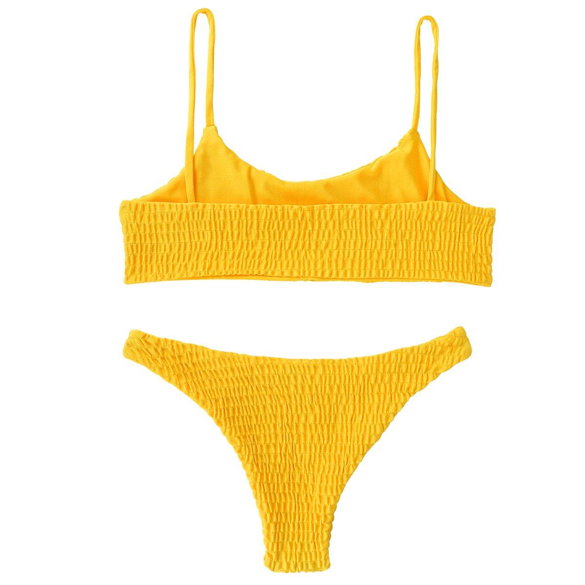 QEETUNG Women\'s Bikini Two Piece Solid Color Sexy Pleated Triangle Swimsuit Bikini Sets Beachwear Top Bottom Set (Yellow, M(US 2-4. Cup Size: B-C))