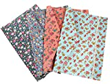 iSuperb A4 Document Bag 4 Packs Floral File Holder Paper Pocket Organizer Bag Pouch Snap Closure (4 Packs Floral)