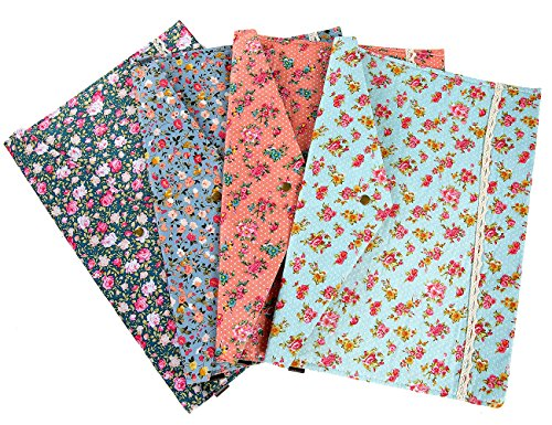 iSuperb A4 Document Bag 4 Packs Floral File Holder Paper Pocket Organizer Bag Pouch Snap Closure (4 Packs Floral) by iSuperb