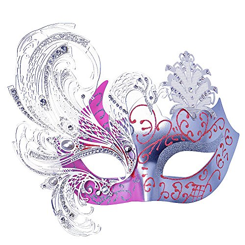 [Party Mask, Cozypony Elegant Princess Peocock Laser Cut Metal Venetian Masquerade Masks for Halloween Mardi Gras Party or Prom (One Size,] (Good Couple Halloween Costumes)