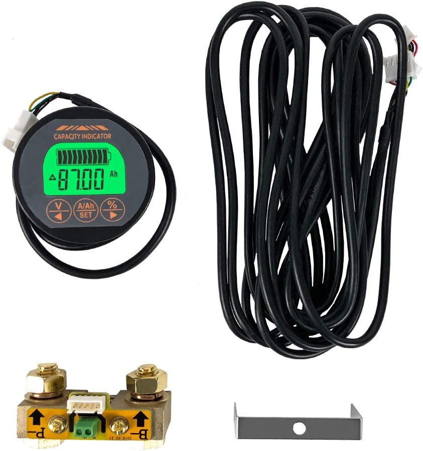 QWORK Battery Monitor Voltmeter Ammeter, Voltage Range 8V-80V and up to 500A, Voltage Current Meter with 13 ft Custom Cable
