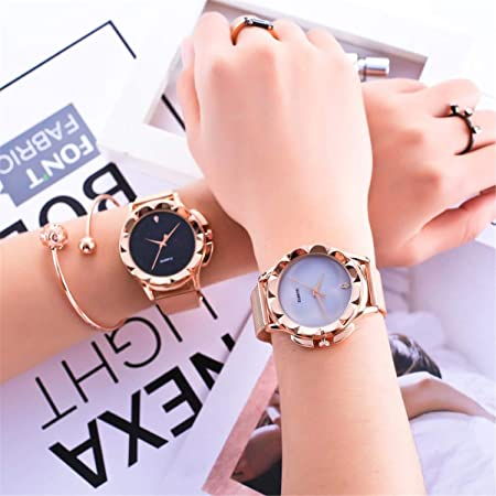 Amazon.com : Watch Women Luxury Rose Gold Bracelet Crystal Stainless Steel Mesh Analog Quartz Red Ladies Gift Watch Reloj Mujer Pulsera(Black, ...
