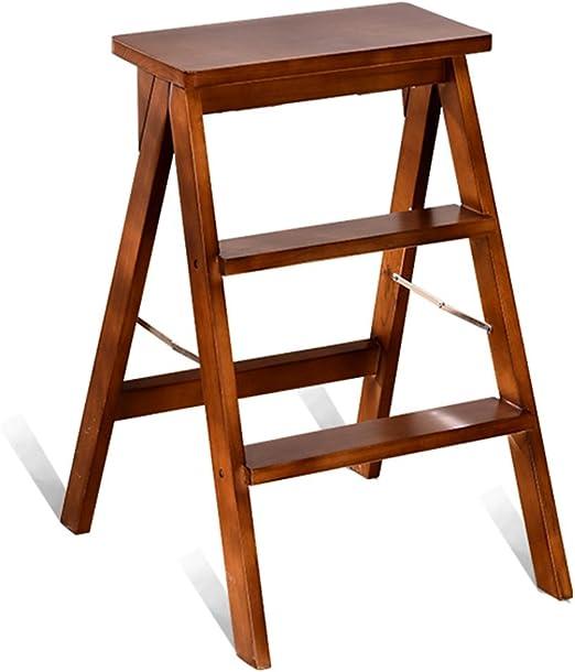 Taburetes escalera Escalera de madera, escalera de madera plegable Escalera de silla plegable portátil Escalera de escalera de madera de doble uso Cocina doméstica Banco ascendente Taburete de la sala: Amazon.es: Hogar