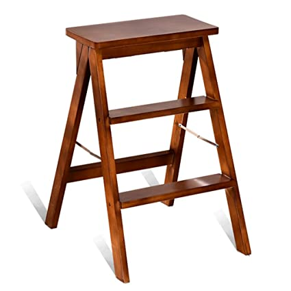Charmant Wooden Ladder, Folding Wooden Ladder Portable Folding Chair Ladder Dual Use  Wooden Step Ladder