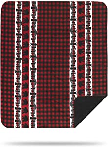Denali Ultimate Comfort Rustic Throw Blanket, Plush, Hand-Stitched, Super Cozy Blankets Made in The USA, Bear Plaid Border