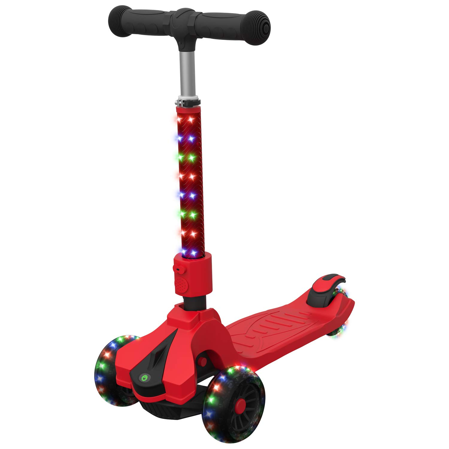 Jetson Saturn Folding 3-Wheel Kick Scooter with Light-Up Stem & Deck, Lean-to-Steer Design with Sturdy Wide Deck & Adjustable Height, for Kids 5 & Up, Red by Jetson Electric Bike