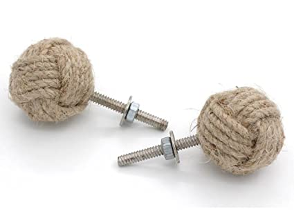 RII 32MM Dia Set Of 2 Jute Rope Cabinet Knobs Nautical Decor