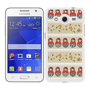 Funda carcasa para Samsung Galaxy Core 2 diseño estampado matrioska 2 borde blanco