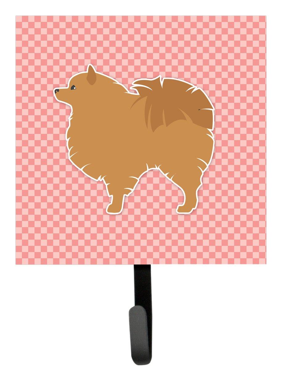 Carolines Treasures Pomeranian Checkerboard Pink Leash or Key Holder BB3642SH4 Small Multicolor