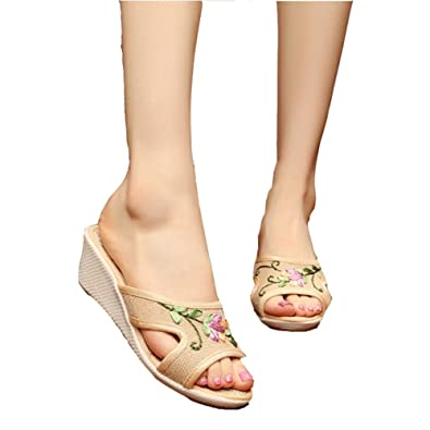 13e691a6f64d Womens Ladies Wedge High Heel Sandals Embroidered Floral Slip On Slippers  Linen Canvas Shoes Beige