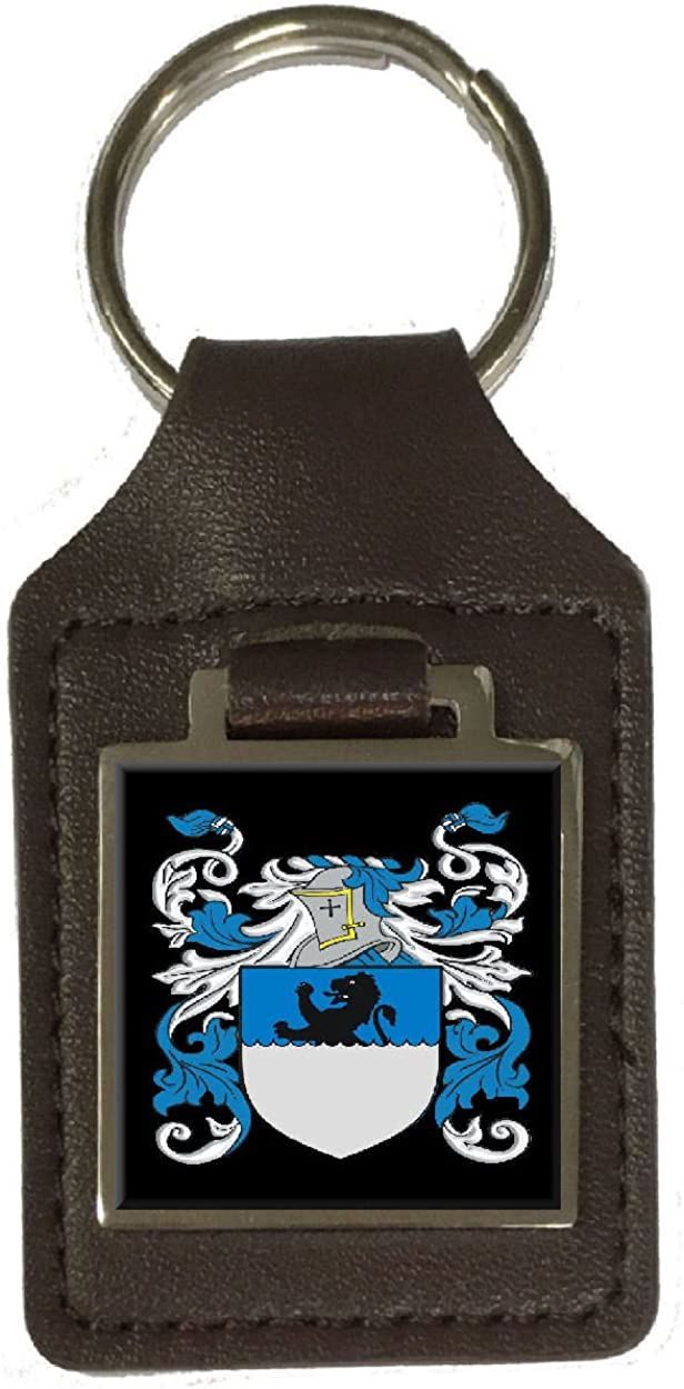 Mcgill Family Crest Surname Coat Of Arms Brown Leather Keyring Engraved