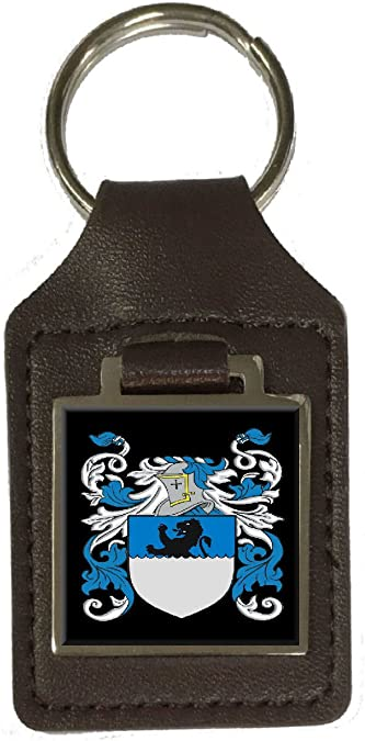 Geal Family Crest Surname Coat Of Arms Brown Leather Keyring Engraved