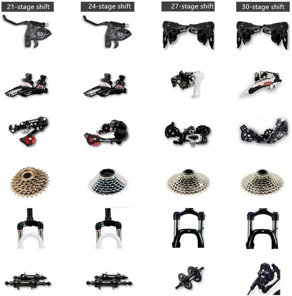 Mujer MTB para Hombre Novokart-Mountain Bike Unisex Bicicletas monta/ña 21//24//27 Pulgadas Blanco y Negro 3 cortadores Rueda Frenos de Doble Disco con Asiento Ajustable