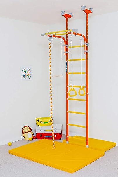 Comet 5 - Gimnasio interior para niños en casa - Juego de parque infantil para niños con anillos de gimnasia, cuerda y barra trapecio ideal para gimnasios, escuelas y habitaciones de niños: