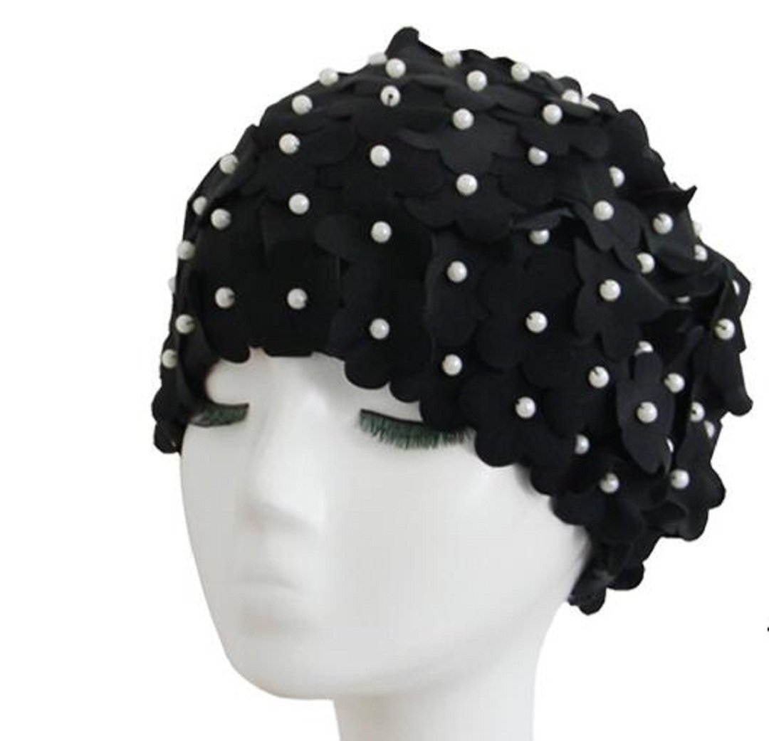 1950s Style Hats for Sale High Quality and Fashion Design Ladies Long Hair Flowers Swim Cap $7.19 AT vintagedancer.com
