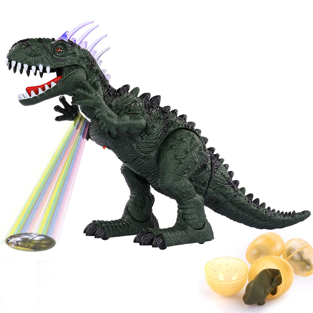 TEMI Electronic Walking Dinosaur LED Light Up Toys for Kids Boys Girls, Jurassic Green Tyrannosaurus T Rex Battery Powered Velociraptor Dragon Model w/ Sounds and Projection Lights, Laying Eggs