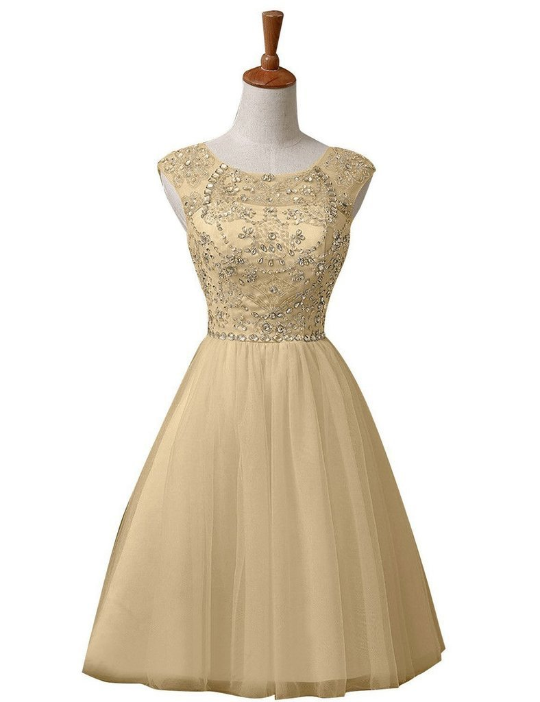 Snowskite Women's Short Prom Beaded Homecoming Dress Cocktail Party Gowns Gold 22
