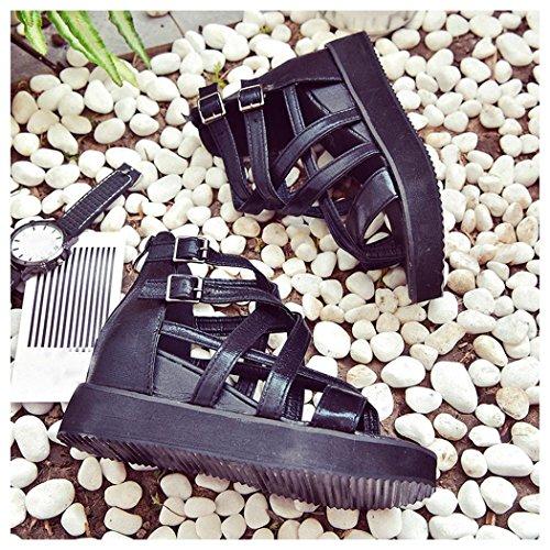 Summer Sandals, Inkach Women Summer Sandals Shoes Peep-toe Low Roman Shoes Ladies Flip Flops Black