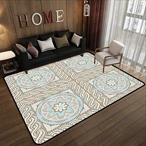 Outdoor Carpet,Antique Decor Collection,Mosaic Tile Design with Floral Elements Twists and Multi Colored Circular Pattern,Cream Brown B 78.7