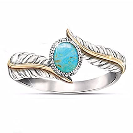 Amazon Com Guangqi Women S Turquoise Feather Ring Cocktail Party