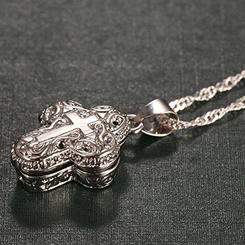 Nattypat 925 Silver Christian Jesus Cross Catholic Crucifix Locket Pendant with Chain (Locket Crucifix)