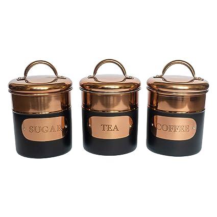 Black Copper Metal Tea Coffee Sugar Storage Canister Set Jar Pots Tins