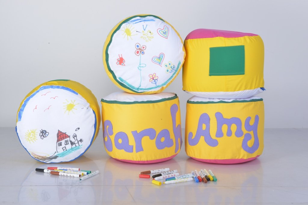 Bedesign Studio ArtPoufie - Craft My First personalize pouf Kit (Yellow/Pink pouf and Green special fabric)