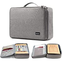 A4 Document Bag,Hamkaw Two-Layer File Tote Case with Cards Slots & Mesh Pouch Waterproof Large Capacity Zip Important Document Organizer File Folder Credit Card Holder for Home Travel