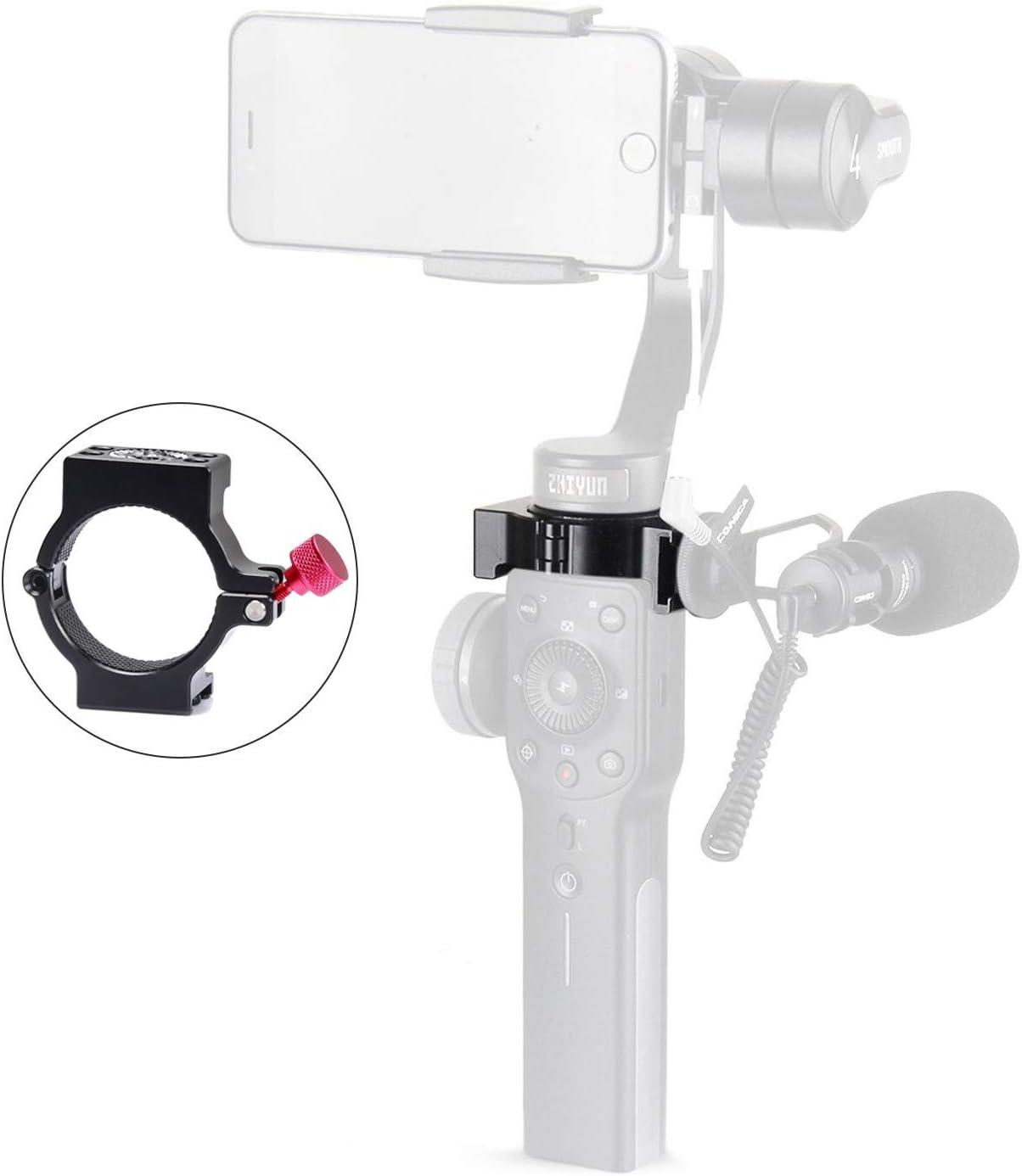 EACHSHOT 4-Ring V2 Cold Shoe Adapter Ring Zhiyun Smooth 4 Applied to Rode Microphone LED Video Light Filmmaker Vlog, Microphone Mount Designed Smooth4 Rosette Mount [Updated Version]