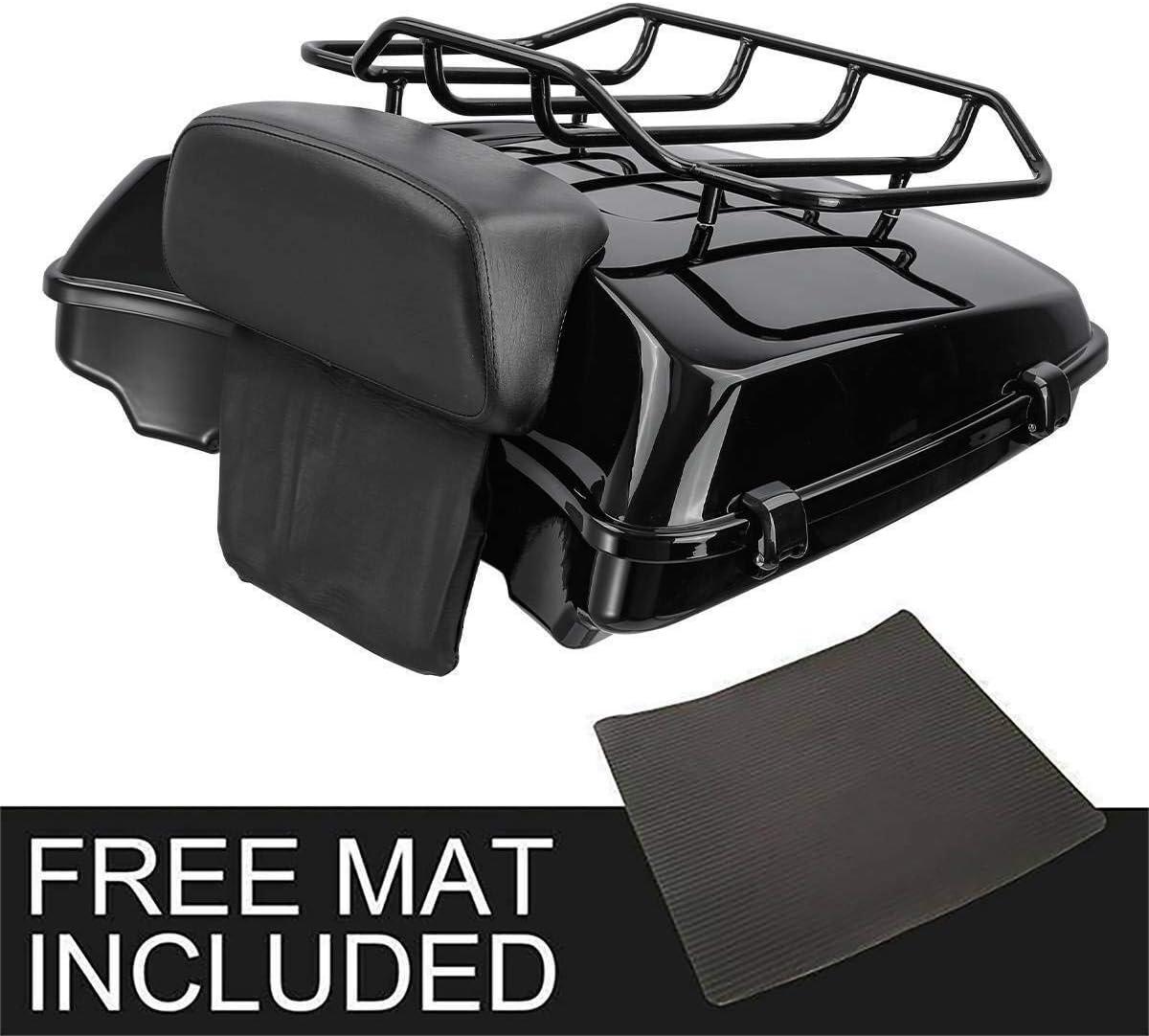 TCMT Vivid Black Razor Tour Pack Trunk Backrest Luggage Top Rack Rail Fit For Harley Touring Road Glide King Street Electra Glide14-20