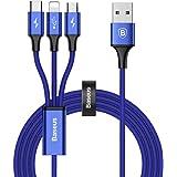 ライトニングケーブル Baseus USB Type-Cケーブル 3in1 充電ケーブル USB Type C/ライトニング/Micro USB ケーブル 3A急速充電 iOS/Android 同時給電可能 iPhone8 8plus 7 7 plus / 6 6s plus/iPad/Macbook 1本3役 多機種対応 1.2m ブルー