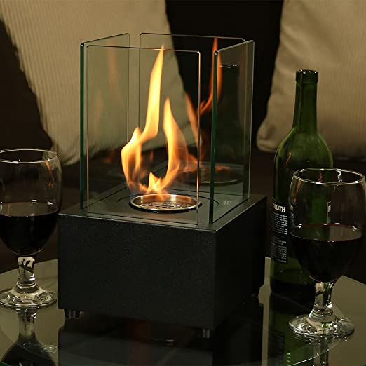 Sunnydaze Cubic Ventless Bio Ethanol Tabletop Fireplace, Black