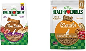 Nylabone Healthy Edibles Roast Beef and Chicken Dog Chew Treats, 12 Count, Small/Regular - Up to 25 lbs. & Nylabone Healthy Edibles Dog Treat Biscuits Peanut Butter & Apple Bundle