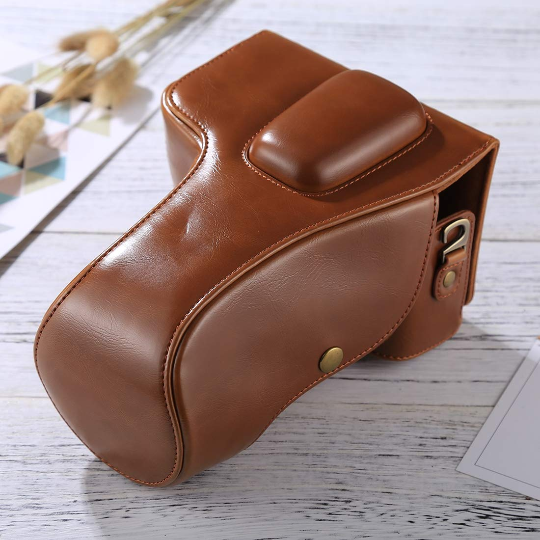 Anstorematealliance Bag,case&Straps Nikon D5300 / D5200 / D5100用GuoBomate勝利バッグ、ケース、ストラップフルボディカメラPUレザーケースバッグ(18-55mm / 18-105mm / 18-140mmレンズ)(ブラック) (Color : Brown) B07RPFNQ3L