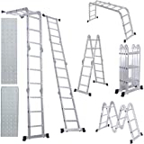 EQUAL Foldable And Adjustable Multipurpose Aluminium 4 X 3 Steps Super Ladder/Working Bench Table 350 Cm (11.5 Ft) (With Scaffolding Platform & Shelf)